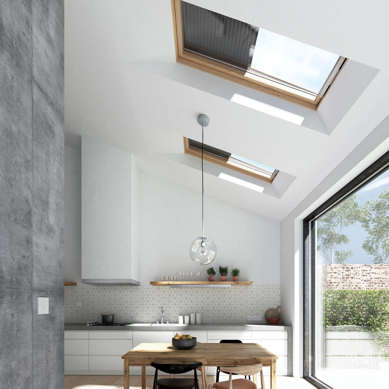 Kitchen with a lot of natural light